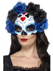 Day Of The Dead Eye Mask Blue